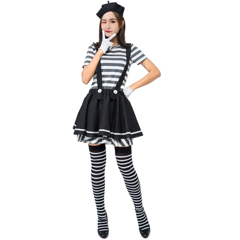 Adult Woman Mime Artist Fancy Dress French Circus Costume Street Outfit  Women Prisoner Game Cosplay