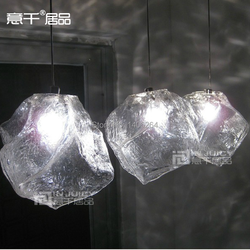 Nordic LOFT Ice Stone Glass Industrial Vintage Ceiling Lamp Pendant Light Hanging Light For Cafe Bar Hall Club Restaurant new loft vintage iron pendant light industrial lighting glass guard design bar cafe restaurant cage pendant lamp hanging lights