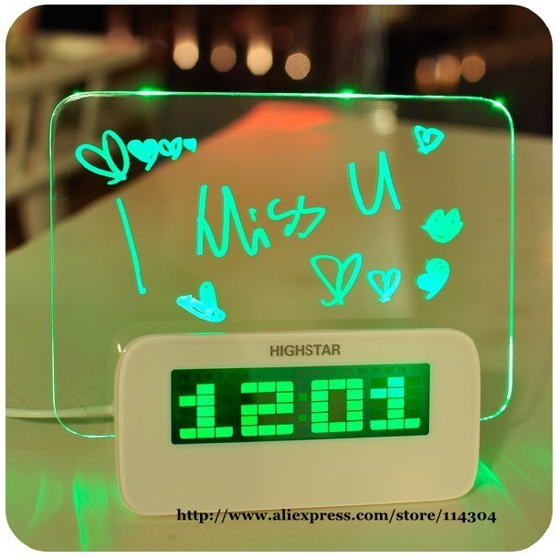 wholesale fashion electronic screen romantic neon crystal LCD message board alarm clock 2 colors available 1pc/lot free shipping