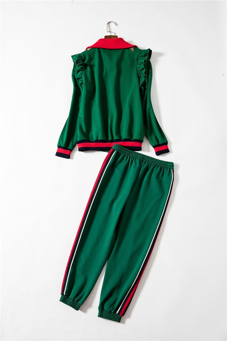 Rouge Veste Les Tops Femmes Pour Rouge Manches dg009 À 2018 Hiver Vert vert Costume Broderie Pantalons Longues Décontractés Automne Survêtement Ensemble Printemps wOXqRgf