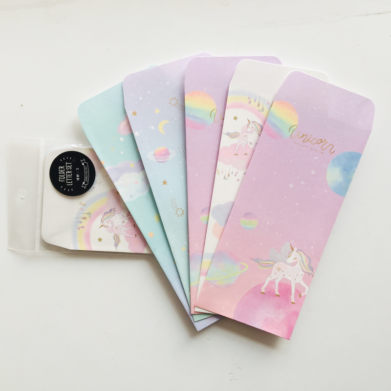 5pcs/pack Lovely Cartoon Rainbow Unicorn Paper Envelope Creative DIY Tool Greeting Card Cover