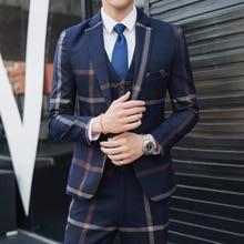 Лидер продаж; новые модные брендовые осень мужская Повседневная Высокое качество легкий уход костюм мужской тонкий в Корейском стиле блейзер жилет и брюки S-5XL