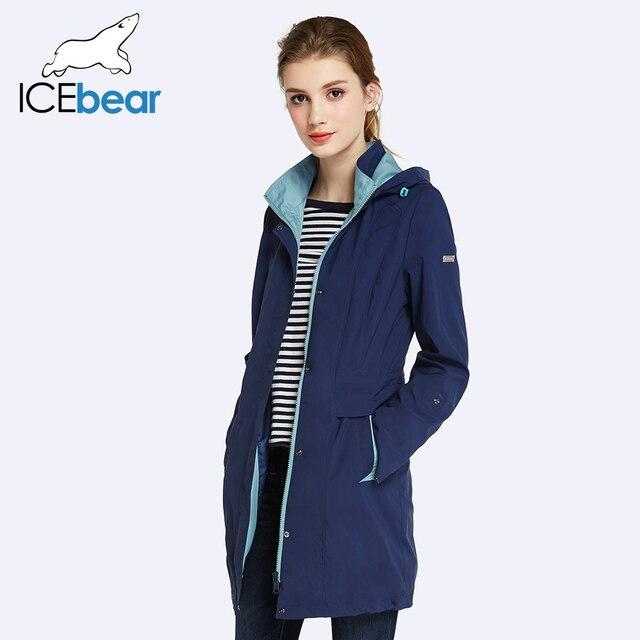 ICEbear 2019 Womens Áo Khoác Chất Lượng Cao Mùa Xuân Dài Áo Khoác Cho Phụ Nữ Áo Gió Mũ Có Thể Tháo Rời 17G116D