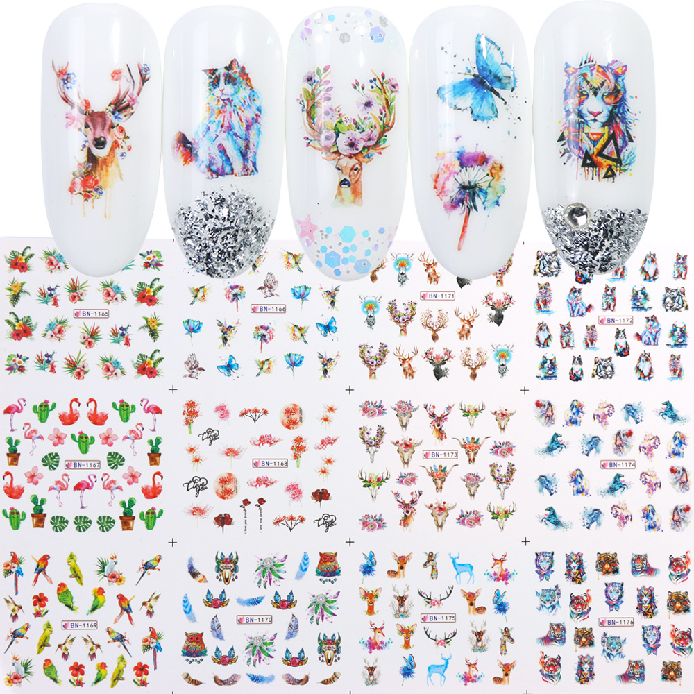 Nail Stickers Cat Flowers Flamingo Animal Water Transfer Decals Tattoo Decoration Foils Wraps Manicure Accessories (7)