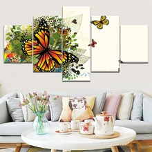 New 5 Piece Canvas Art Colorful Butterfly Animal Cuadros Decoracion Paintings on Wall for Home Decorations Decor