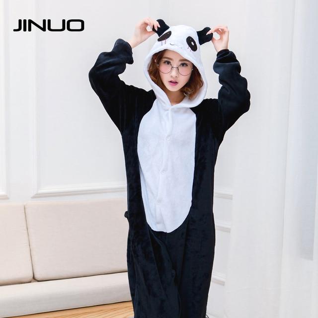 6e2ce46426 JINUO Women Pajamas Autumn Winter Flannel Animal funny animal panda unicorn  pajamas nightgowns Onesie Sleepwear