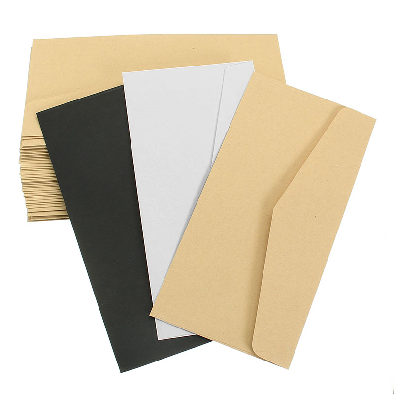 Kicute 50Pcs Classical Window Envelopes Solid White Kraft Blank Mini Paper For Wedding Invitation Envelope Gift Envelope 22*11cm