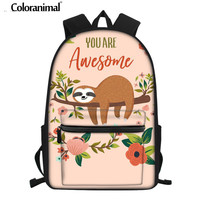 Coloranimal Schoolbag Kids Large Backpack Daily College Student Mochila Backpack Teen Girl Boy Cartoon Sloth Pretty Schoolbags