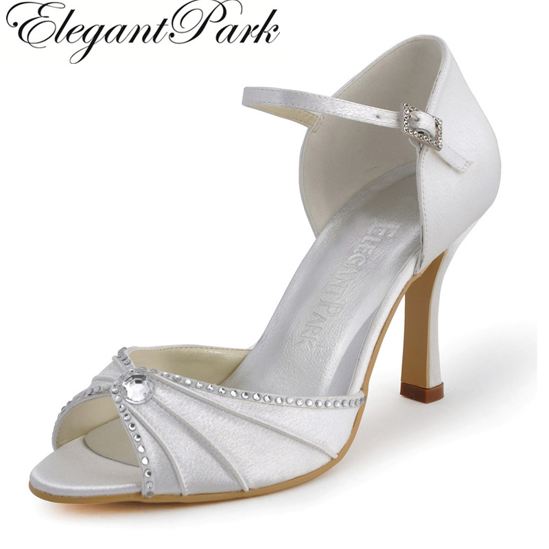 Woman Shoes EL-033 White Ivory Peep Toe Rhinestone 3.5 High Heel Ankle Strap Satin Wedding Bridal Shoes Evening Party Pumps
