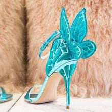 Women Sandals Embroidered Butterfly Wing Blue Gold Silver Screen-printed High Heels Party Shoes Ankle Strap