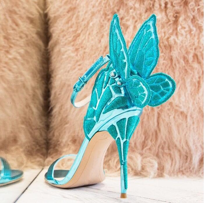 Women Sandals Embroidered Butterfly Wing Sandals Women Blue Gold Silver Screen printed High Heels Party Shoes Ankle Strap Shoes