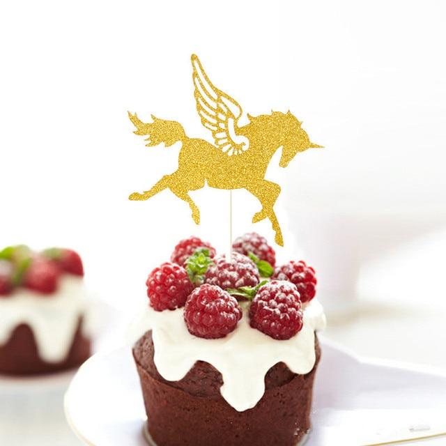 2 Teile Los Kuchen Dekoration Glanzende Goldene Pferde Hochzeit