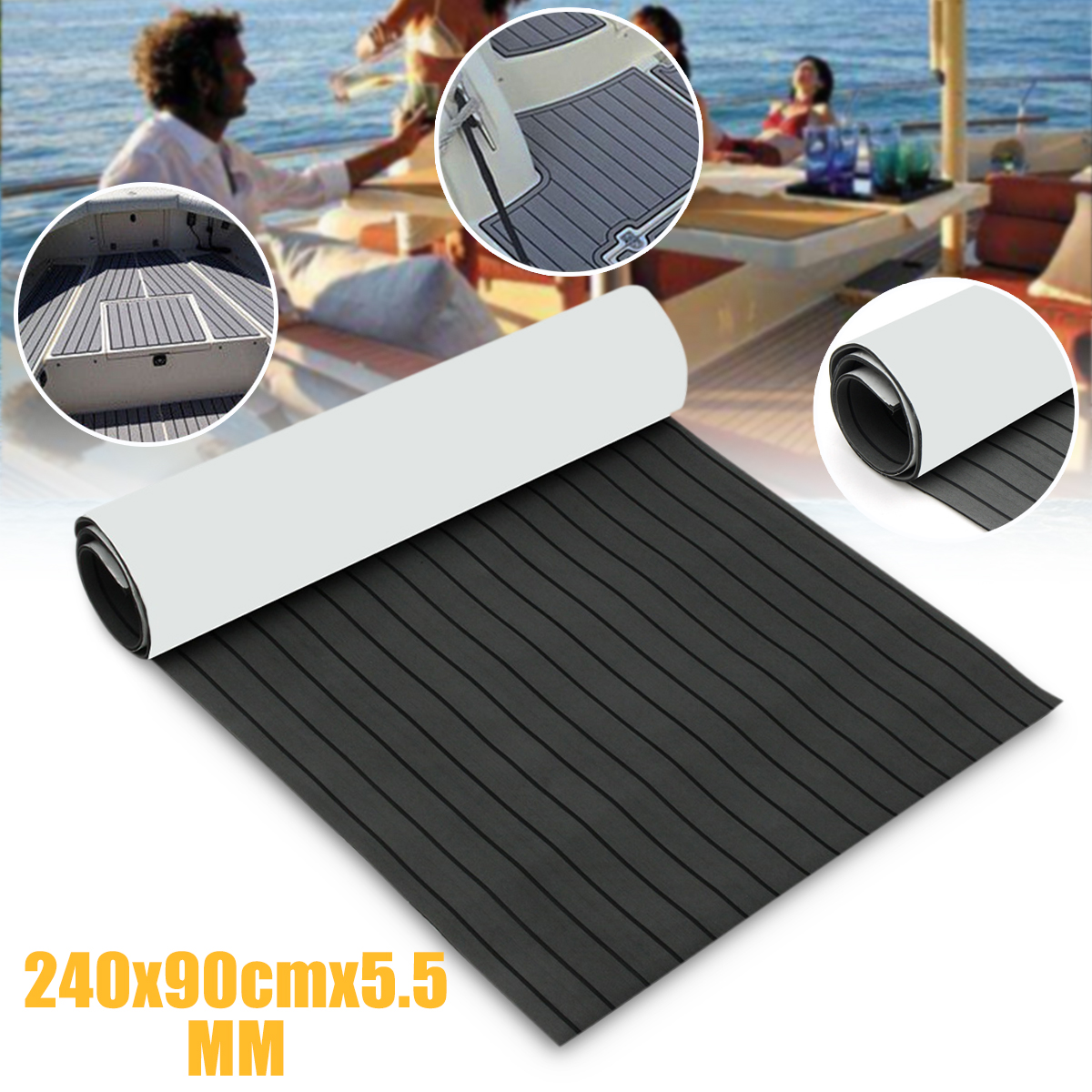 Self-Adhesive 90x240cm 5.5mm Dark Grey with Black EVA Foam Teak Boat Flooring Sheet Yacht Synthetic Teak Decking Pad teak house ваза ingrid