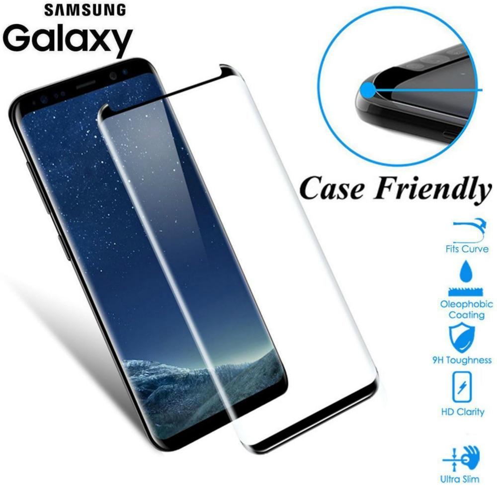 Jgkk caso apto 3d vidro curvo para samsung galaxy s8 s9 além de vidro temperado caso amigável protetor de tela para s8 mais s9 escudo