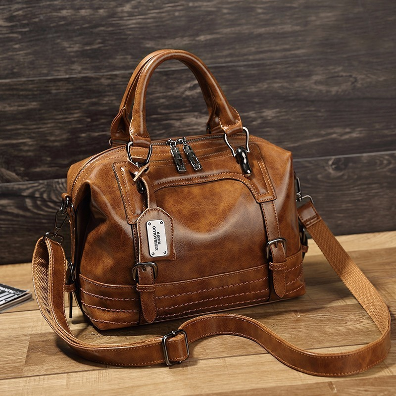 Kajie Vintage Boston Oil Wax Leather Women Messenger Bags Luxury Handbags Femme Bags Designer Shoulder Bag Female Postman Tote neverout oil wax style split leather bag for women vintage boston bag shoulder sac 3 color handbags tote zipper tote new handbag