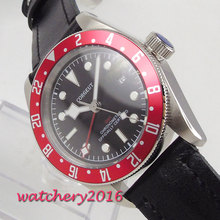 41mm Corgeut Black Dial GMT Date Red Rotating Bezel Super Luminous Hands Stainless steel Case Automatic Movement men's Watch цена и фото