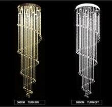 Современный светодиодный хрустальный люстры лестницы люстра