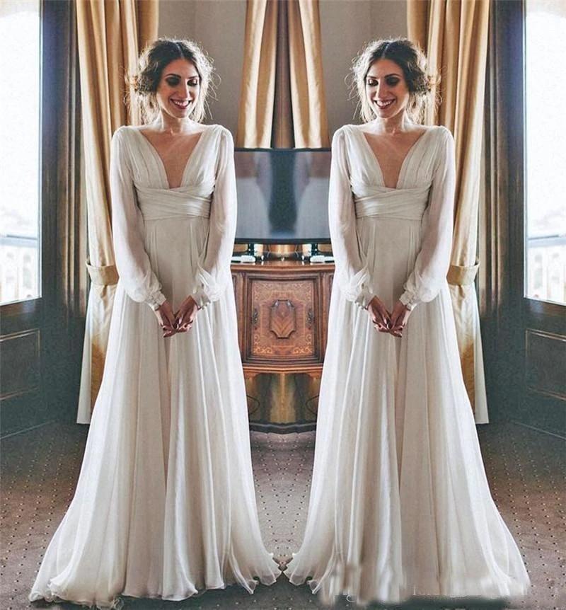 Vintage Boho Wedding Dresses 2019 Long Sleeves V Neck Plus Size Chiffon Cheap Beach Country Maternity Bridal Gowns Greek Style Wedding Dresses Aliexpress