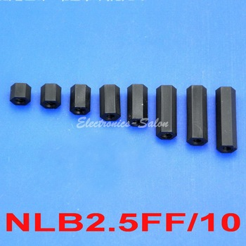"( 1000 pcs/lot ) 10mm / 0.39"", M2.5 Black Nylon Hex Female-Female Standoff Spacer."