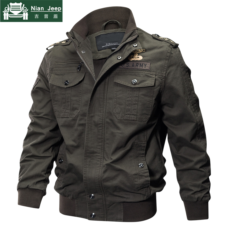 NIAN JEEP 2018 Plus Size Military Spring Autumn Cotton Pilot Jacket Coat Army Men's