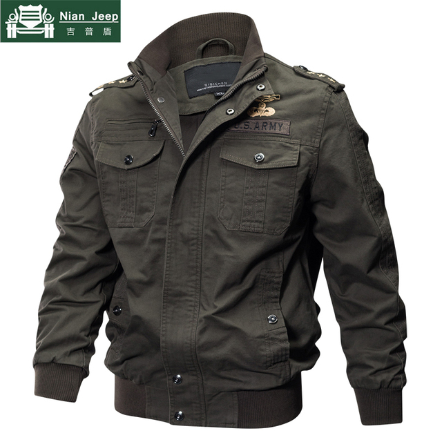 2018 Plus Size Military Jacket Men Spring Autumn Cotton Pilot Jacket Coat Army Men's Bomber Jackets Cargo Flight Jacket Male 6XL 1