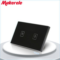 Touch Switch 2 Gang 2 Way Black Crystal Glass panel US Standard wall socket for lamp