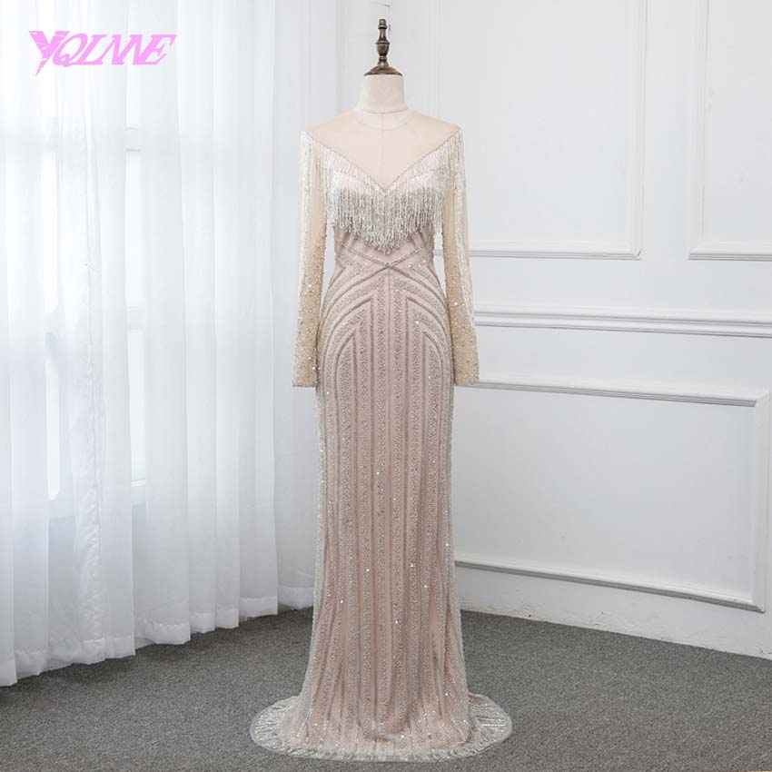 YQLNNE Collection 2019 Long Sleeve Evening Dress Illusion Beading Tassel Formal Gown Pageant Dresses Evening Gown Comp