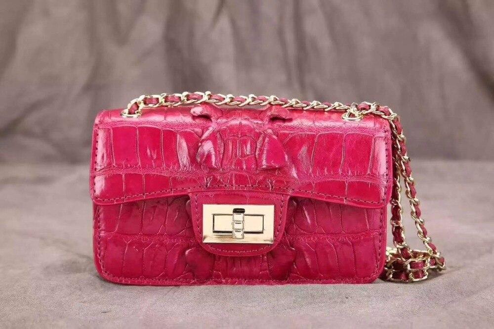 318e2e7d79b78 100 Echte Krokodilleder Tasche Größe umhängetasche Luxus Metallkette Leder  Dame Lange Schulter Kleine Frauen gqxRwHa8z