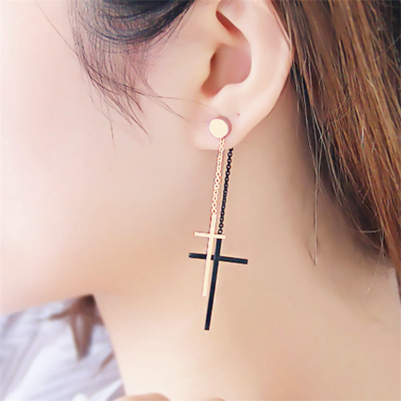 Classic Double Cross Long Earrings For Women Bijoux Gold-color Personality Fashion Jewelry Wholesale Gift