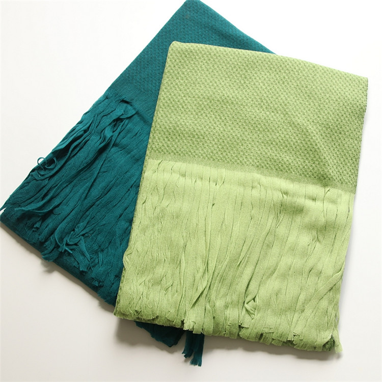 new fashion 100%wool women solid scarfs shawl pashmina super long tassel 70x220cm green 2color