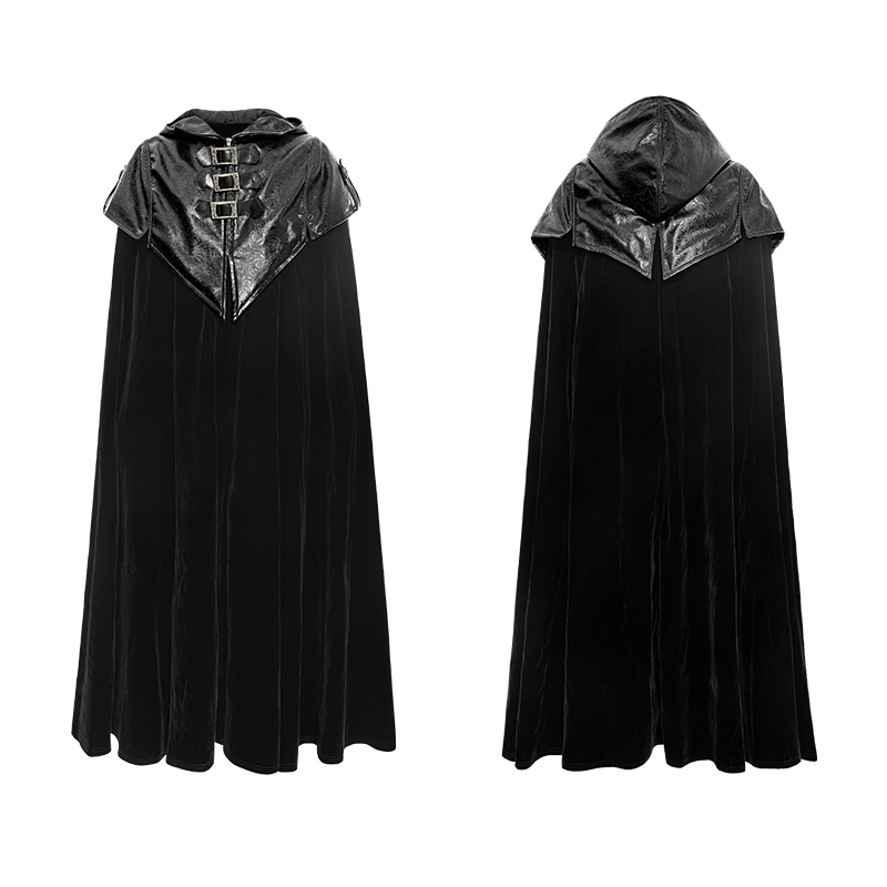 Punk New Gothic Hoodie Cape X-Long Coat With Pattern Thick Men Cloak Coat Loose Black   Trench   Overcoat With Zipper Leather Coats