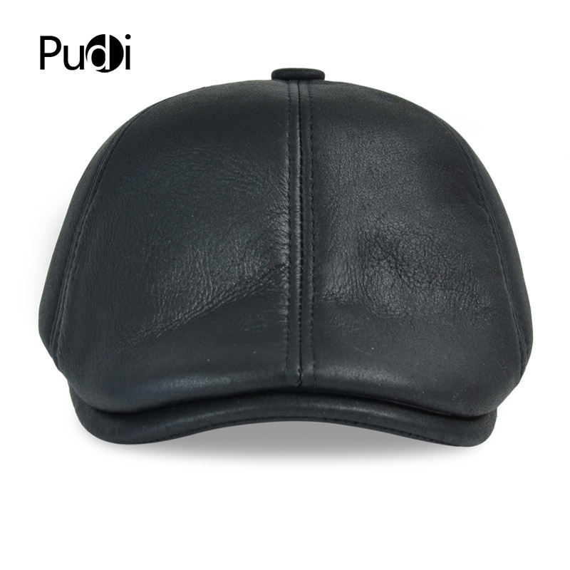 27742ad7b HL113 real leather baseball cap hat winter warm Russian old men beret newsboy  ear Flap caps hats with real fur inside -in Baseball Caps from Apparel ...