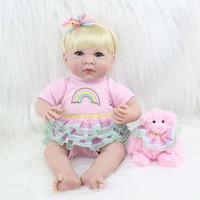 35cm Silicone Reborn Baby Doll Toys Lifelike 14inch Mini Vinyl Princess Toddler Girl Babies Doll Birthday