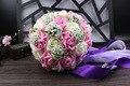 2017 Дешевые Свадебные/Невесты Букеты Розовый и Белый Люкс Ручной Работы Искусственный Букет Роз де mariage рамо де-ла-бода