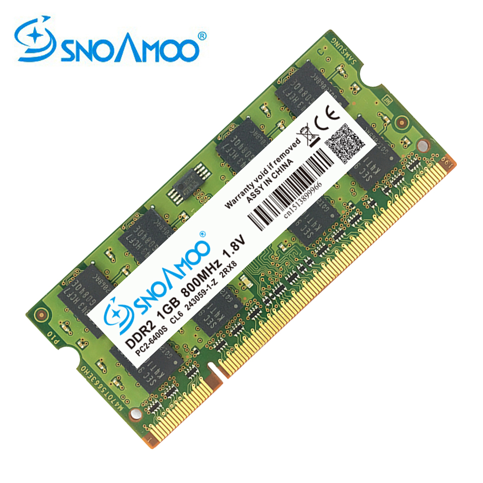 SNOAMOO DDR2 1GB 2GB 667MHz Laptop RAMs  PC2-5300S 800MHz PC2-6400S 200Pin CL5 CL6 1.8V 2Rx8 SO-DIMM Computer Memory Warranty