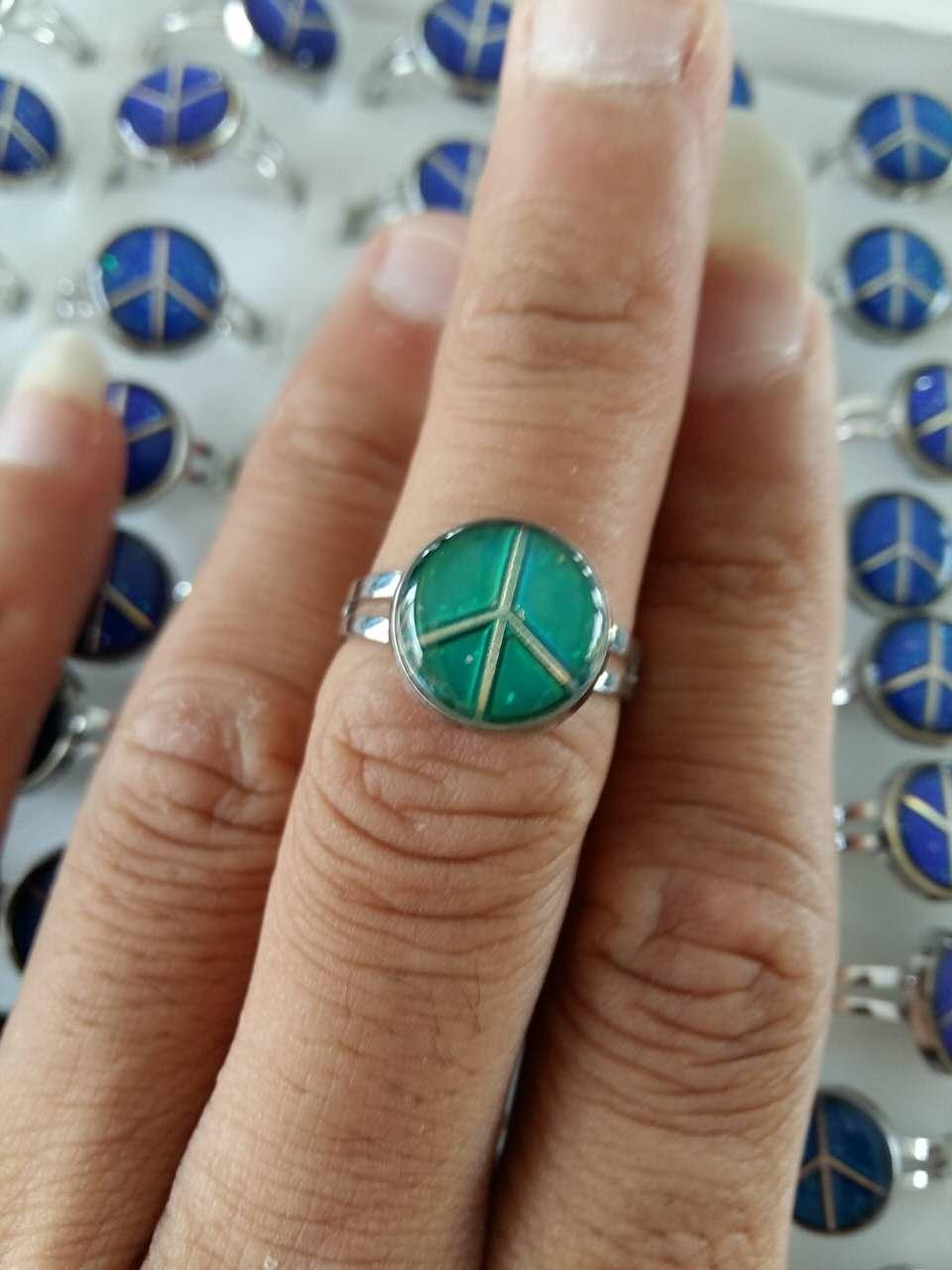 mood ring peace symbol adjustable opening mood ring