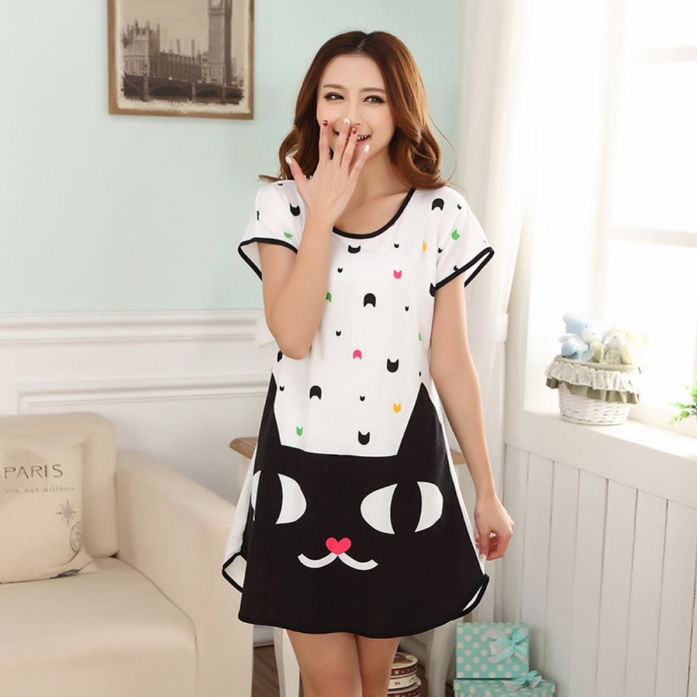 New Women Cartoon Polka Dot Sleepwear Short Sleeve Sleepdress   Sleepshirt   Night Dress for Girl Women Nightwear