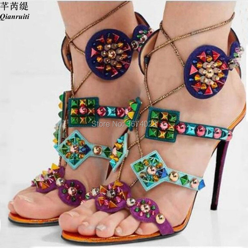 Qianruiti Women Gladiator Colorful Spikes Sandals Caged Peep Toe High Heels Rivets Stilettos Patchwork Sandals Lady Shoes women-in High Heels from Shoes    1