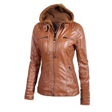 MUQGEW Autumn Winter Creative Women Slim Hooded Jacket Overcoat Coat Lapel Removable Zipper Outwear Tops Artificial