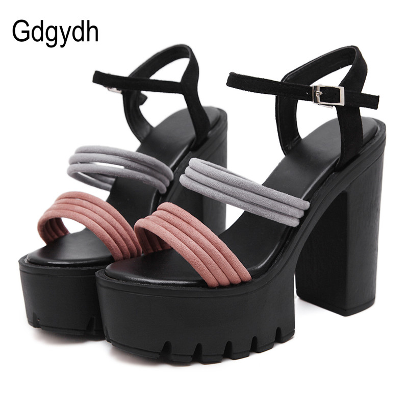 Gdgydh Rome Style 2018 Colorful Women Sandals Fashion New Summer Open Toe Platform Shoes Ankle Strap Buckle Party High Heel gdgydh fashion summer women shoes heels 2018 new arrivals sexy cut outs open toe thick heel black rome platform sandals woman