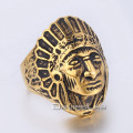 30mm Mens Boys Gold Tone Carved Apache Indian Chief Head Ring 316L Stainless steel Ring US Size 8-13 Wholesale Jewelry LHR329