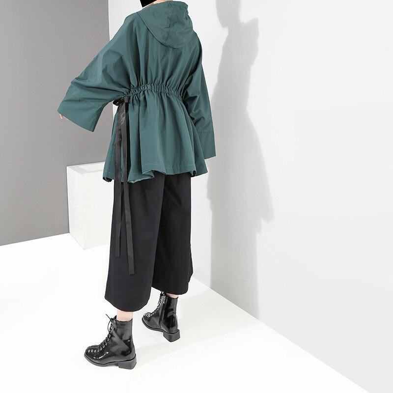 Femelle vert Printemps De Manteau Veste Noir Taille Rue Lâche Hiver Automne Parka Dames 2019 Capuche Élastique Mode Vert À Noir Femmes gwRnqCwxZ