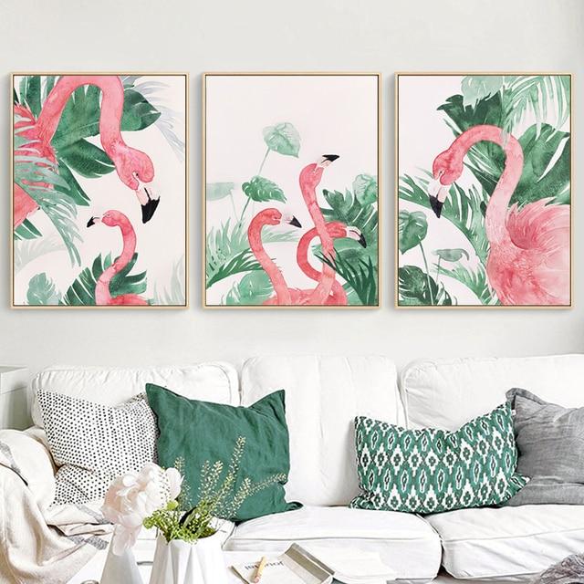 HAOCHU Scandinave Paysage Aquarelle Rose Flamingo Imprimer Toile ...