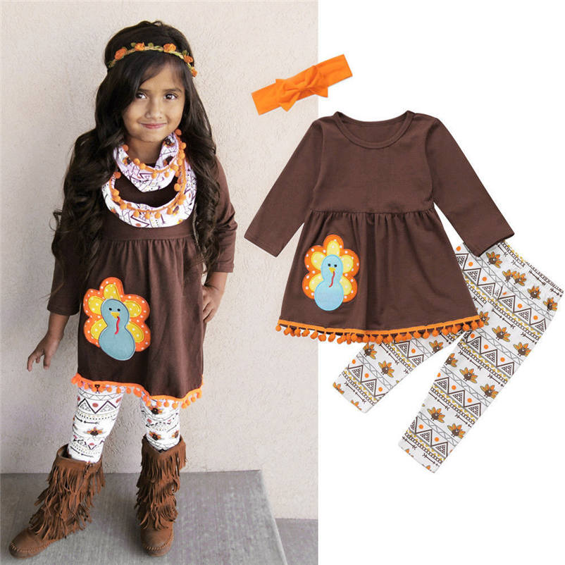 2018 NEW Winter Newborn Thanksgiving Toddler Kids Baby Girl Outfits Clothes Dress Tops+Pants Outfit set Children Clothing p5