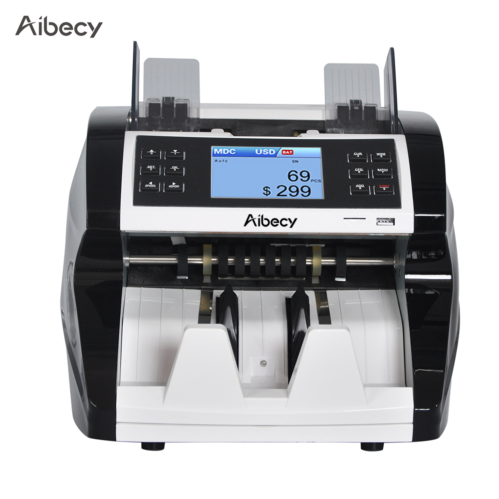 Aibecy Multi Currency Cash Banknote Money Bill Automatic Counter Counting Machine for EURO USD GBP AUD