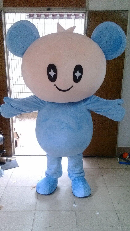 Dernières mascottes de poupée grande tête bleue costumes robe Cosplay vêtements vacances vêtements spéciaux