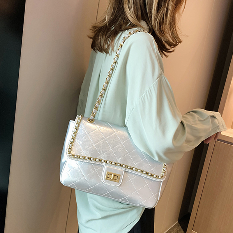 Fashion Women Leather Silver Bags Chain Crossbody Handbag Ladies Quilted Shoulder Bag Messenger Designer Handbag Luxury Channels
