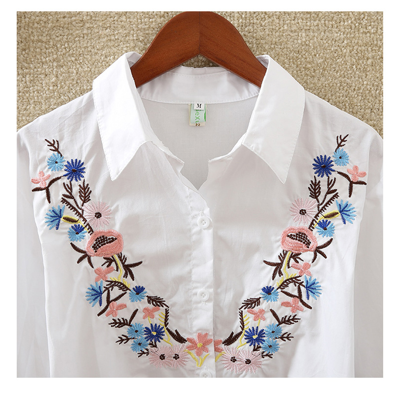 New Fashion flowers embroidered women's clothing women tops blusas  5