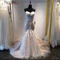 שמלות כלה תחרה בת ים ערבית Robe De Mariage Vestido דה Noiva דה רנדה Vintage ללא משענת 2018 שמלות כלה