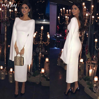 NYZY C1 Jersey Backless Tea Length 2019 Elegant Formal Dress White Party Homecoming Cocktail Dress with Cape Long Sleeves